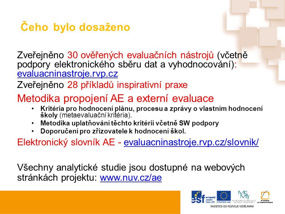 Čeho bylo dosaženo Zveřejněno 30 ověřených evaluačních nástrojů (včetně podpory elektronického sběru dat a vyhodnocování): evaluacninastroje.rvp.cz ev