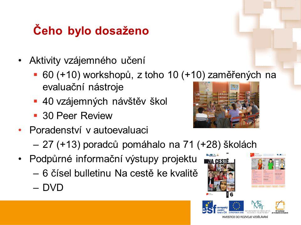 Čeho bylo dosaženo Aktivity vzájemného učení  60 (+10) workshopů, z toho 10 (+10) zaměřených na evaluační nástroje  40 vzájemných návštěv škol  30