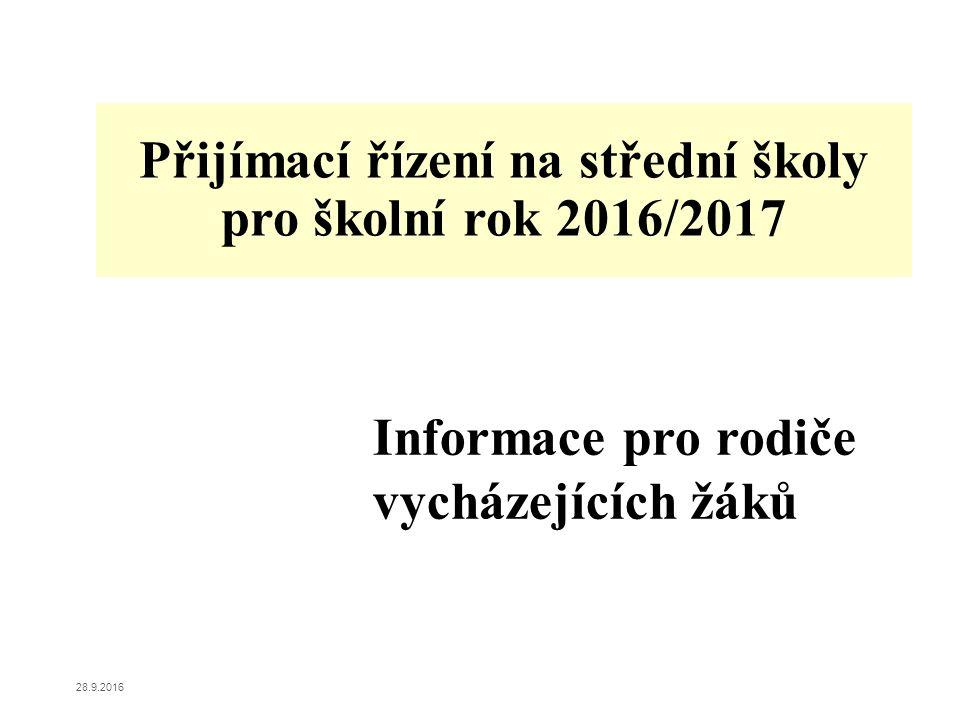 Přijímací řízení na střední školy pro školní rok 2016/2017 Informace pro rodiče vycházejících žáků 28.9.2016