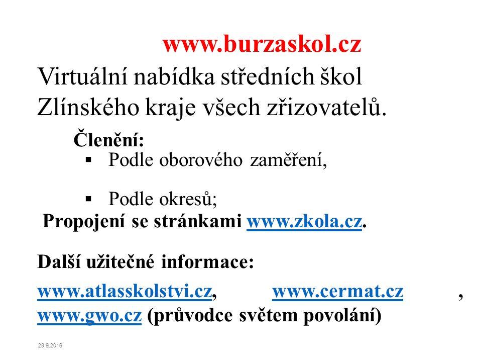 www.burzaskol.cz Virtuální nabídka středních škol Zlínského kraje všech zřizovatelů. Členění:  Podle oborového zaměření,  Podle okresů; Propojení se