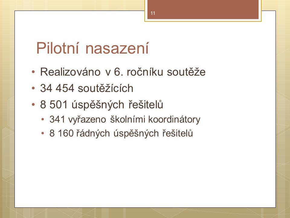 Pilotní nasazení Realizováno v 6.