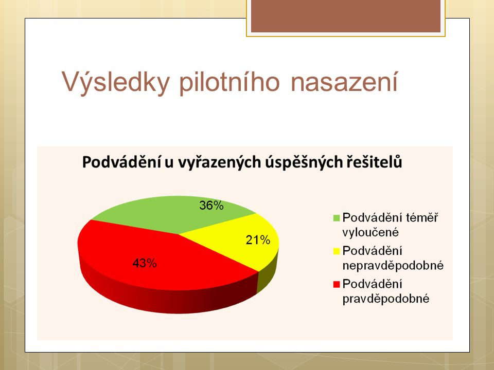 Výsledky pilotního nasazení