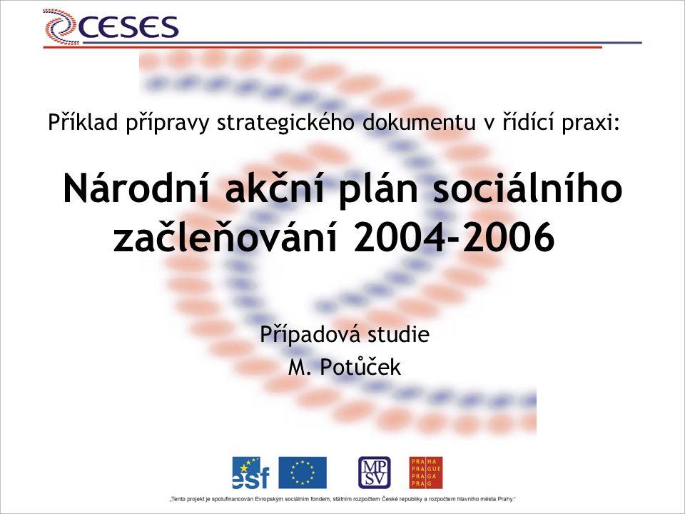 Příklad přípravy strategického dokumentu v řídící praxi: Národní akční plán sociálního začleňování 2004-2006 Případová studie M.