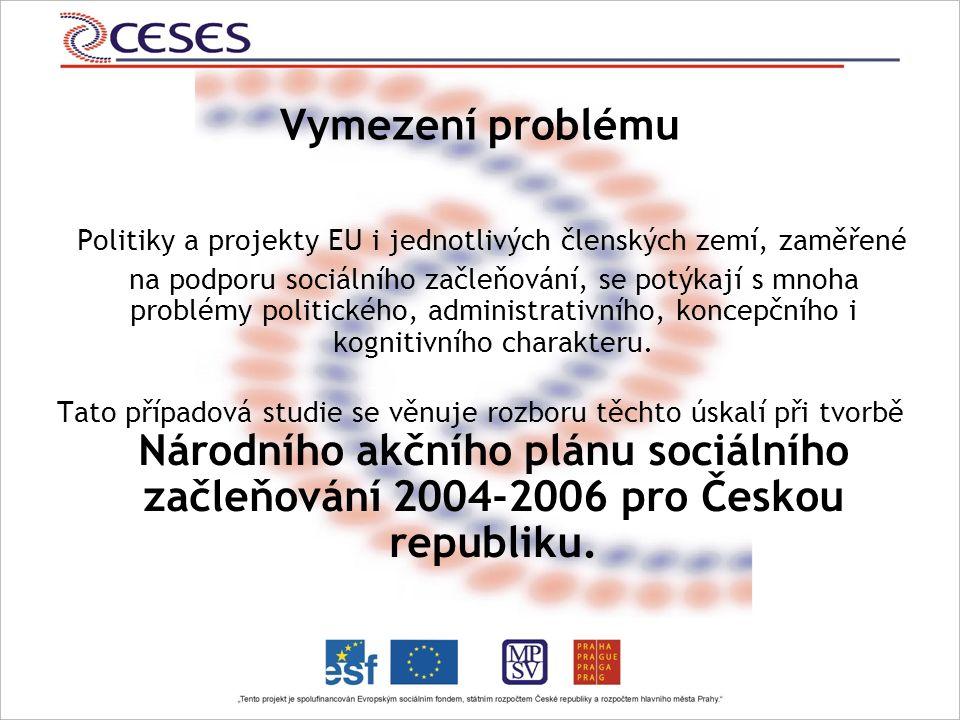 Vymezení problému Politiky a projekty EU i jednotlivých členských zemí, zaměřené na podporu sociálního začleňování, se potýkají s mnoha problémy politického, administrativního, koncepčního i kognitivního charakteru.