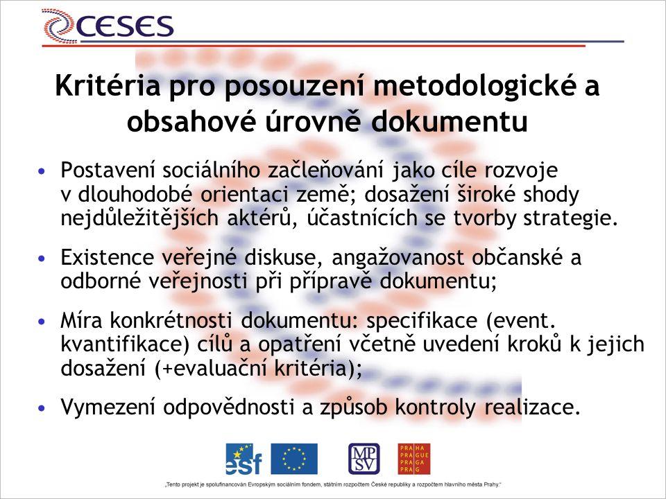 Kritéria pro posouzení metodologické a obsahové úrovně dokumentu Postavení sociálního začleňování jako cíle rozvoje v dlouhodobé orientaci země; dosažení široké shody nejdůležitějších aktérů, účastnících se tvorby strategie.