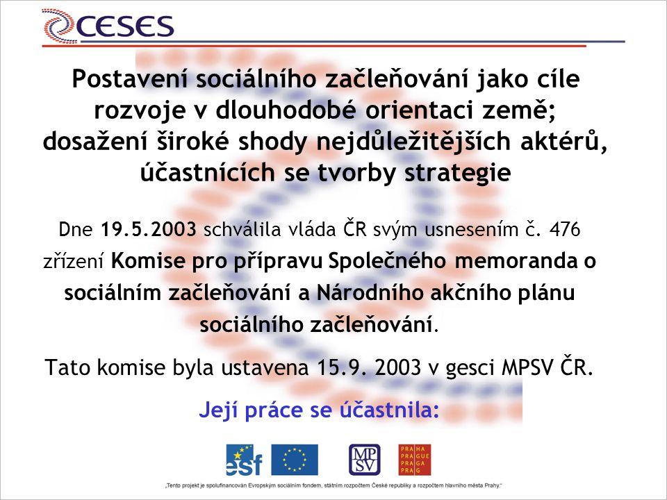 Postavení sociálního začleňování jako cíle rozvoje v dlouhodobé orientaci země; dosažení široké shody nejdůležitějších aktérů, účastnících se tvorby strategie Dne 19.5.2003 schválila vláda ČR svým usnesením č.