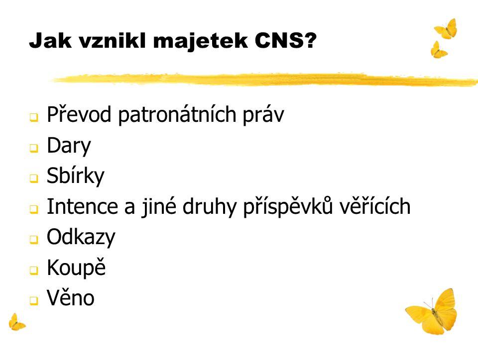 Jak vznikl majetek CNS?  Převod patronátních práv  Dary  Sbírky  Intence a jiné druhy příspěvků věřících  Odkazy  Koupě  Věno