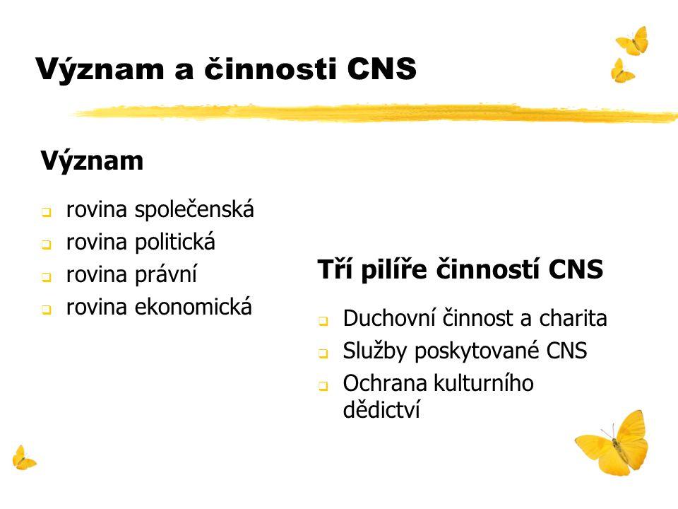 Význam a činnosti CNS Význam  rovina společenská  rovina politická  rovina právní  rovina ekonomická Tří pilíře činností CNS  Duchovní činnost a