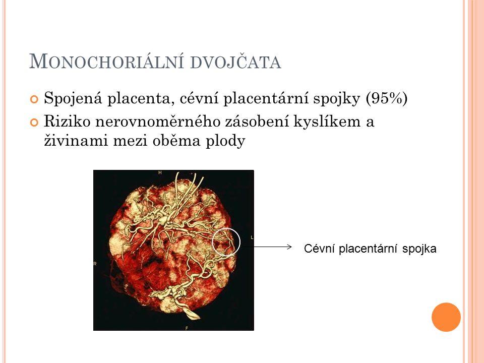 M ONOCHORIÁLNÍ DVOJČATA Spojená placenta, cévní placentární spojky (95%) Riziko nerovnoměrného zásobení kyslíkem a živinami mezi oběma plody Cévní placentární spojka