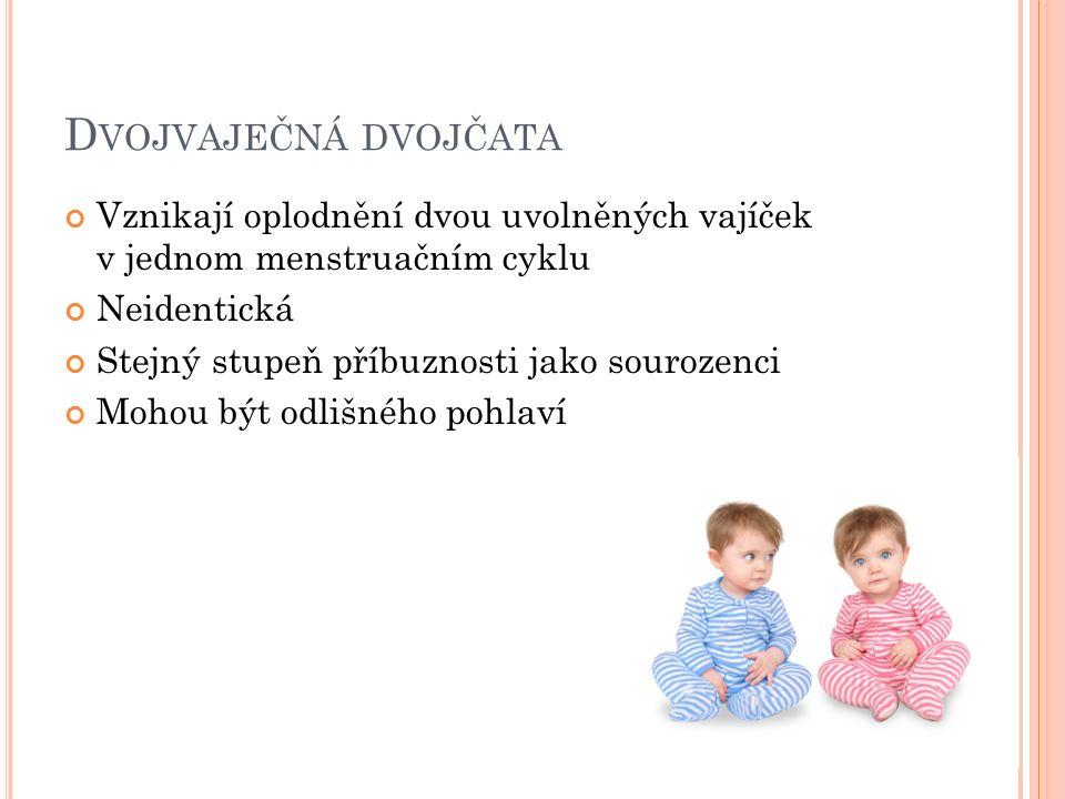 Vznikají oplodnění dvou uvolněných vajíček v jednom menstruačním cyklu Neidentická Stejný stupeň příbuznosti jako sourozenci Mohou být odlišného pohlaví