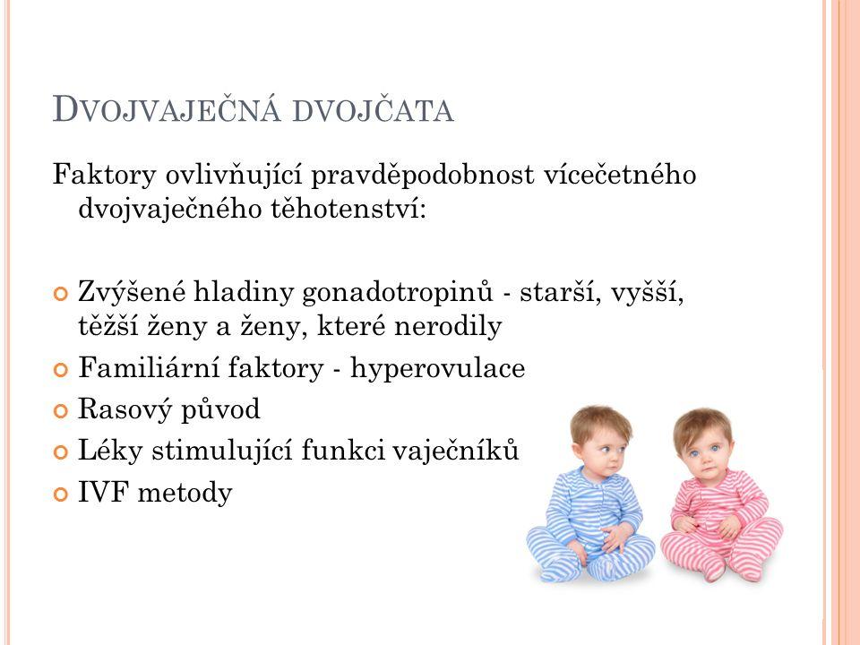 D VOJVAJEČNÁ DVOJČATA Faktory ovlivňující pravděpodobnost vícečetného dvojvaječného těhotenství: Zvýšené hladiny gonadotropinů - starší, vyšší, těžší ženy a ženy, které nerodily Familiární faktory - hyperovulace Rasový původ Léky stimulující funkci vaječníků IVF metody