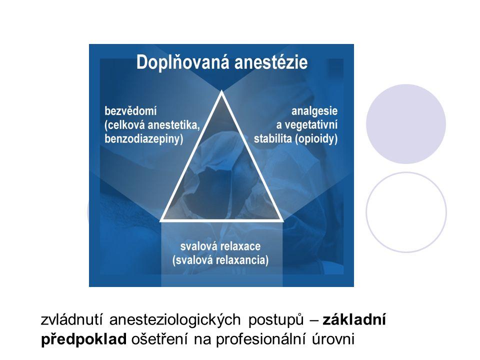 zvládnutí anesteziologických postupů – základní předpoklad ošetření na profesionální úrovni