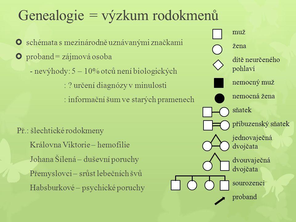 Genealogie = výzkum rodokmenů  schémata s mezinárodně uznávanými značkami  proband = zájmová osoba - nevýhody: 5 – 10% otců není biologických : ? ur