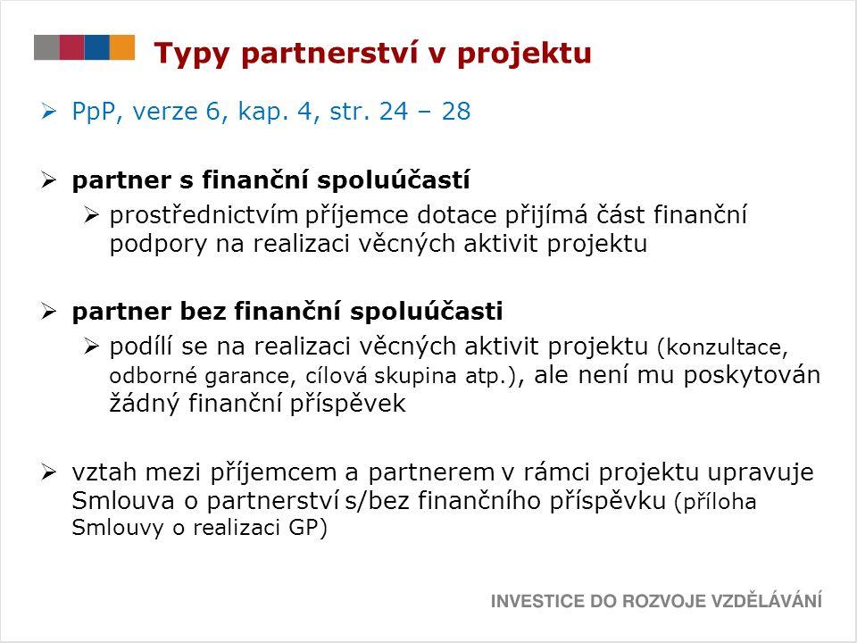 Typy partnerství v projektu  PpP, verze 6, kap. 4, str.