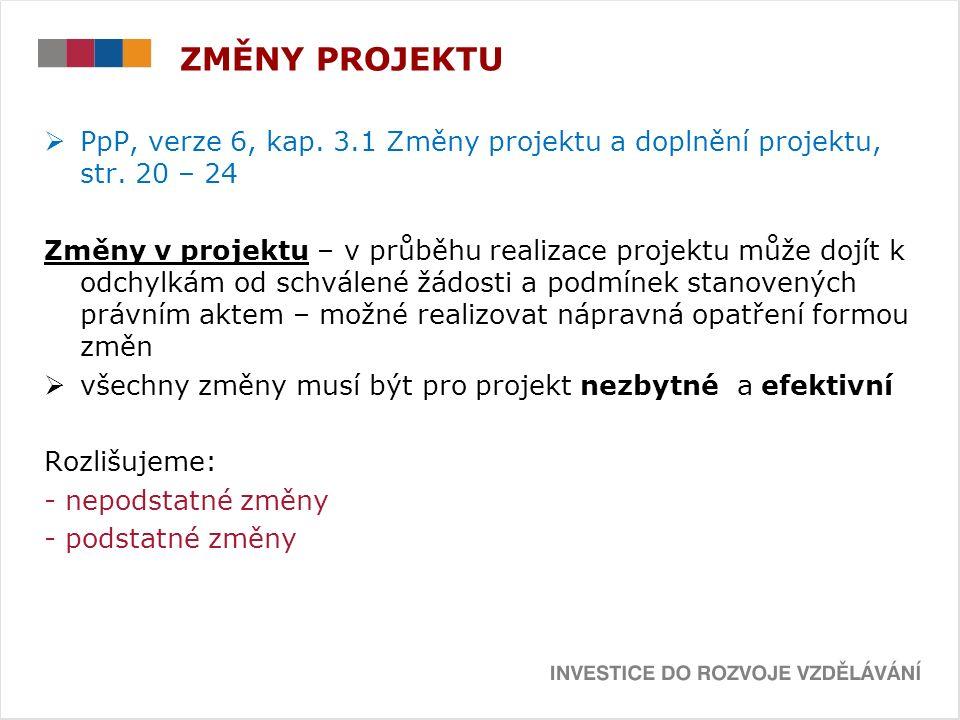  PpP, verze 6, kap. 3.1 Změny projektu a doplnění projektu, str.