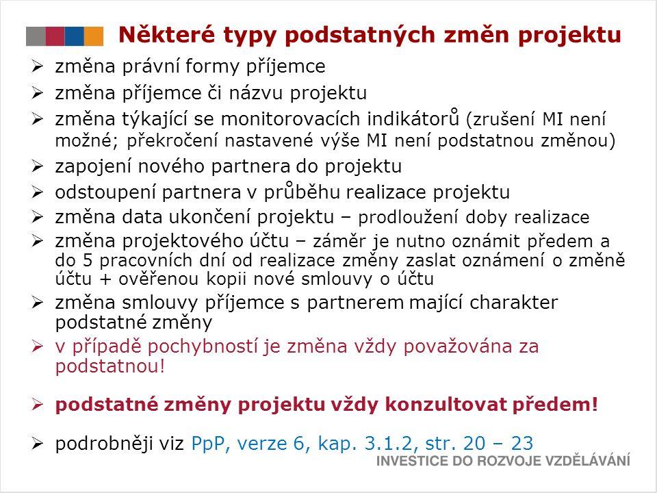 ZMĚNY ROZPOČTU  PpP, verze 6, kap.5.5 Změny rozpočtu, str.