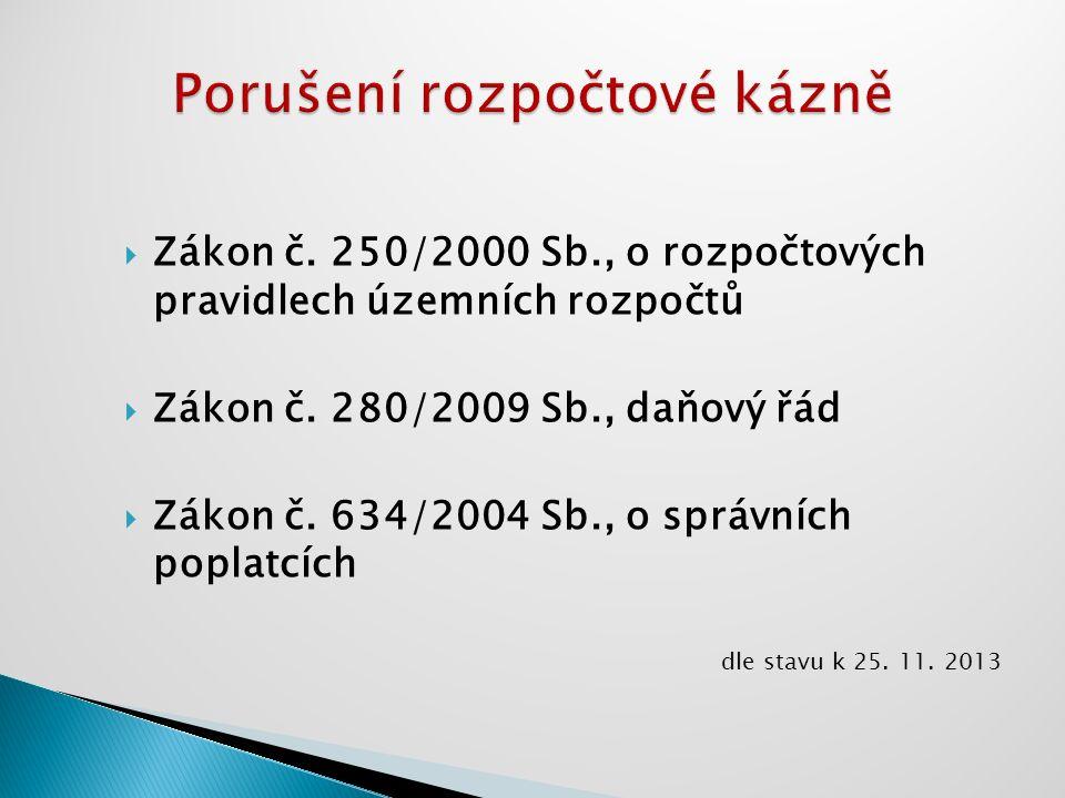  Zákon č. 250/2000 Sb., o rozpočtových pravidlech územních rozpočtů  Zákon č. 280/2009 Sb., daňový řád  Zákon č. 634/2004 Sb., o správních poplatcí