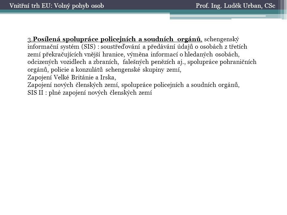 Prof. Ing. Luděk Urban, CScVnitřní trh EU: Volný pohyb osob 3.Posílená spolupráce policejních a soudních orgánů, schengenský informační systém (SIS) :