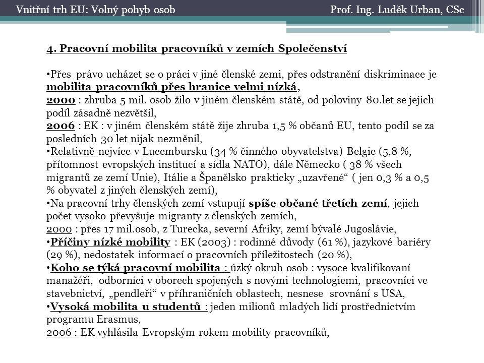 Prof. Ing. Luděk Urban, CScVnitřní trh EU: Volný pohyb osob 4. Pracovní mobilita pracovníků v zemích Společenství Přes právo ucházet se o práci v jiné
