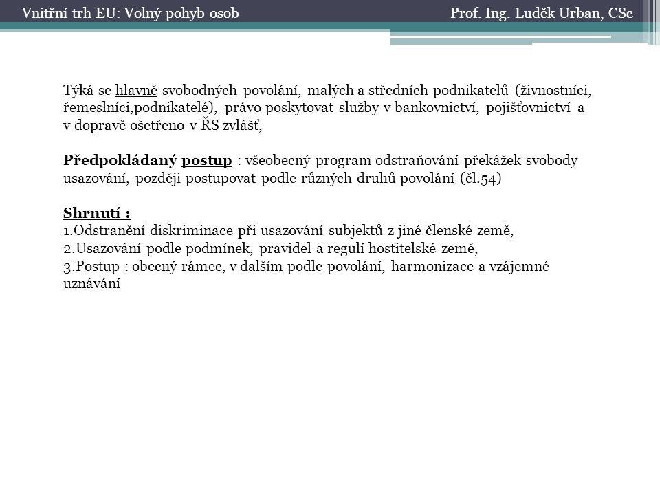 Prof. Ing. Luděk Urban, CScVnitřní trh EU: Volný pohyb osob Týká se hlavně svobodných povolání, malých a středních podnikatelů (živnostníci, řemeslníc