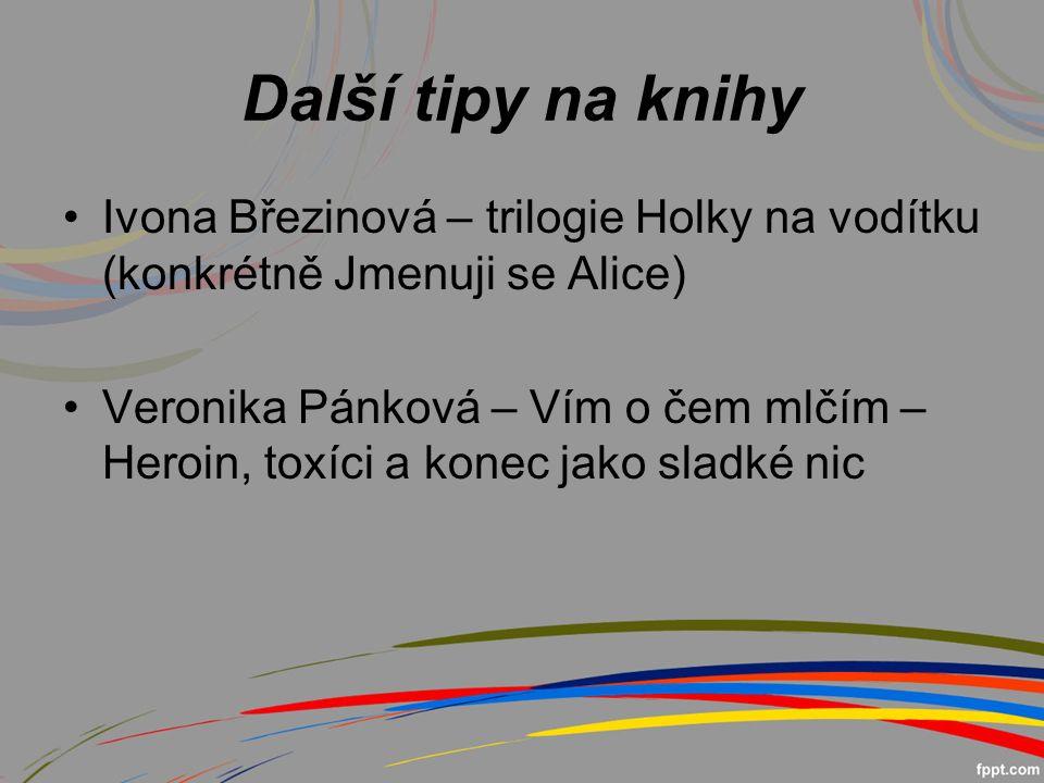 Další tipy na knihy Ivona Březinová – trilogie Holky na vodítku (konkrétně Jmenuji se Alice) Veronika Pánková – Vím o čem mlčím – Heroin, toxíci a konec jako sladké nic
