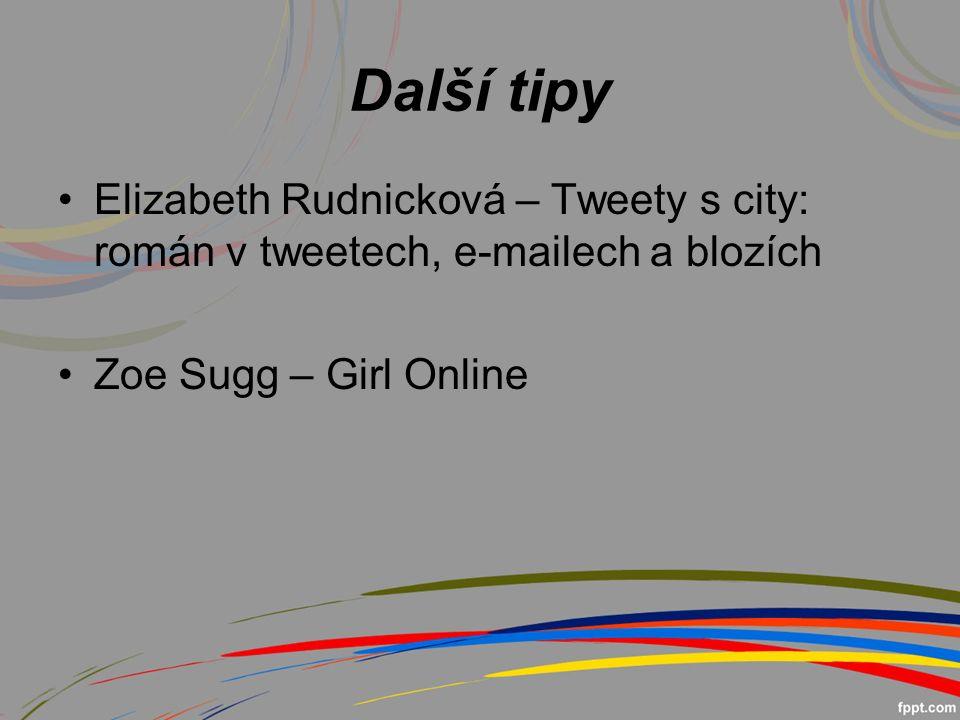 Další tipy Elizabeth Rudnicková – Tweety s city: román v tweetech, e-mailech a blozích Zoe Sugg – Girl Online