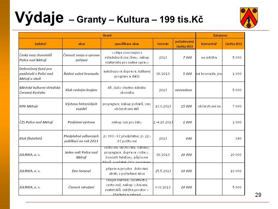 29 Výdaje – Granty – Kultura – 199 tis.Kč