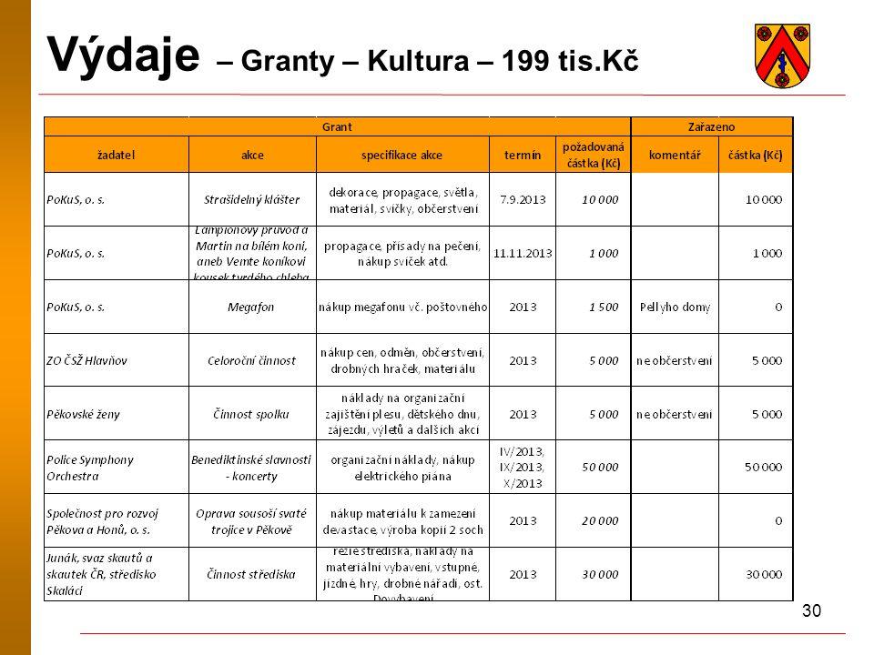 30 Výdaje – Granty – Kultura – 199 tis.Kč