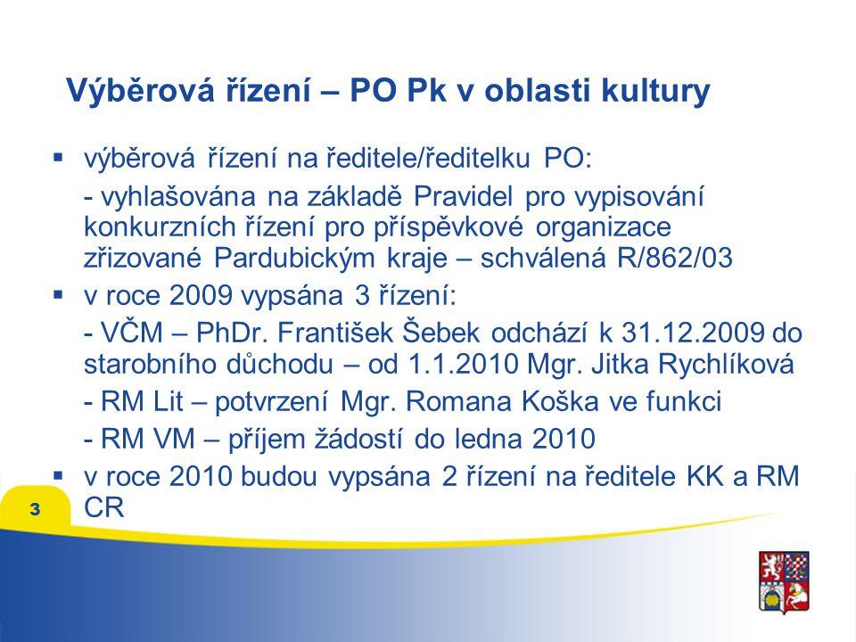 3 Výběrová řízení – PO Pk v oblasti kultury  výběrová řízení na ředitele/ředitelku PO: - vyhlašována na základě Pravidel pro vypisování konkurzních řízení pro příspěvkové organizace zřizované Pardubickým kraje – schválená R/862/03  v roce 2009 vypsána 3 řízení: - VČM – PhDr.