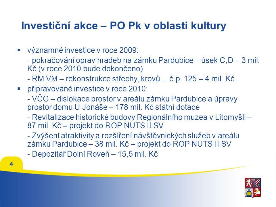4 Investiční akce – PO Pk v oblasti kultury  významné investice v roce 2009: - pokračování oprav hradeb na zámku Pardubice – úsek C,D – 3 mil.