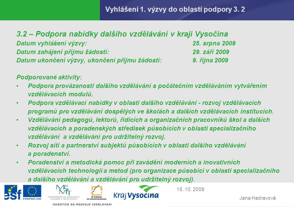 Jana Hadravová 15. 10. 2009 Vyhlášení 1. výzvy do oblasti podpory 3.