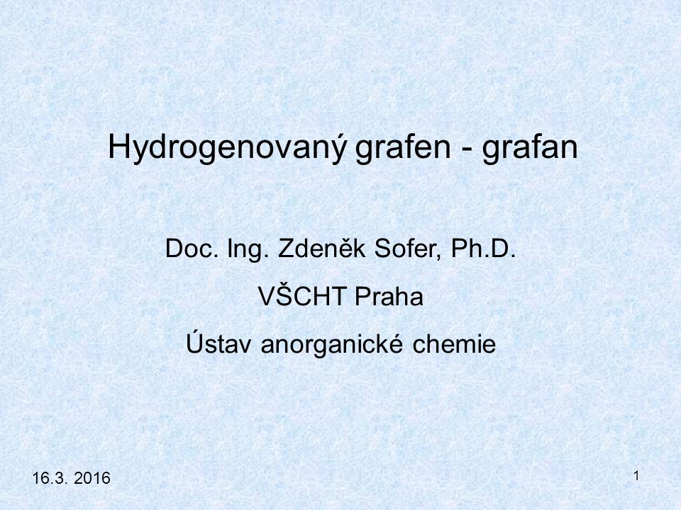 1 Doc. Ing. Zdeněk Sofer, Ph.D.