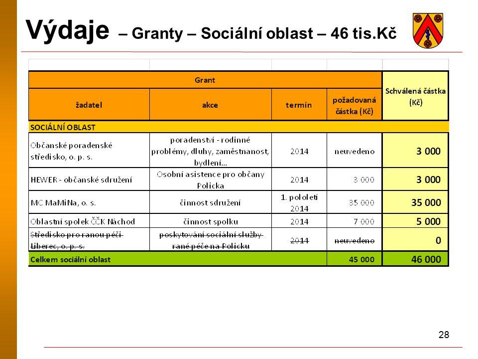 28 Výdaje – Granty – Sociální oblast – 46 tis.Kč