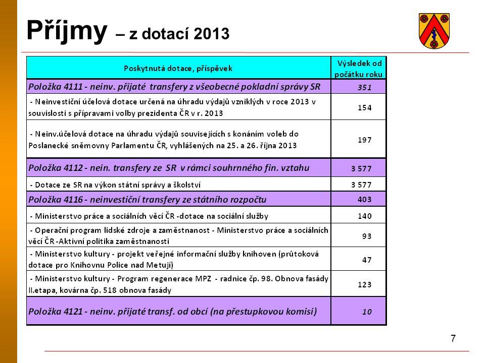 7 Příjmy – z dotací 2013