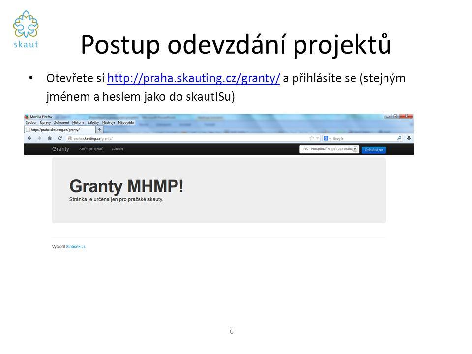 Postup odevzdání projektů Otevřete si http://praha.skauting.cz/granty/ a přihlásíte se (stejným jménem a heslem jako do skautISu)http://praha.skauting.cz/granty/ 6