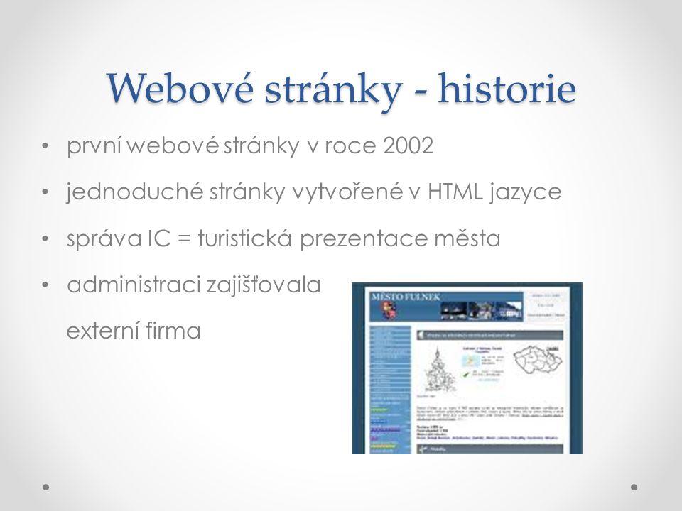 Webové stránky - historie první webové stránky v roce 2002 jednoduché stránky vytvořené v HTML jazyce správa IC = turistická prezentace města administ