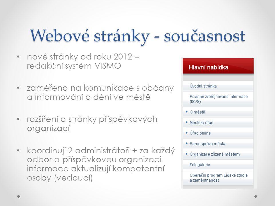 Webové stránky - současnost nové stránky od roku 2012 – redakční systém VISMO zaměřeno na komunikace s občany a informování o dění ve městě rozšíření
