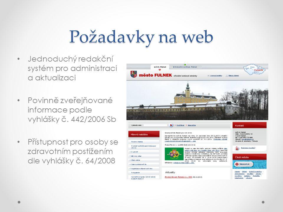 Požadavky na web Jednoduchý redakční systém pro administraci a aktualizaci Povinně zveřejňované informace podle vyhlášky č. 442/2006 Sb Přístupnost pr