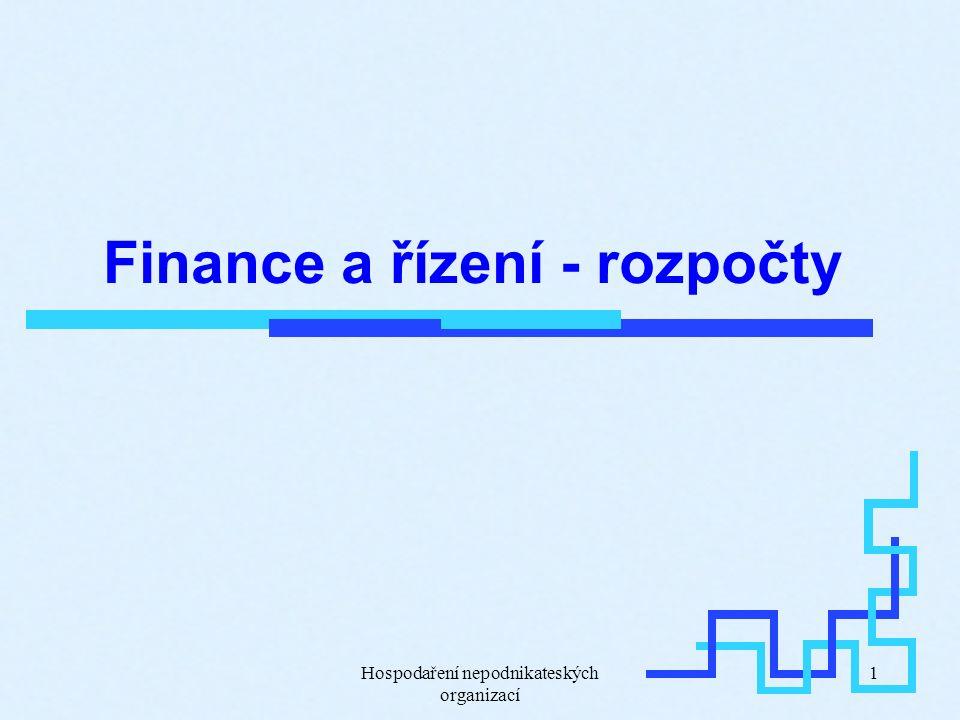 Hospodaření nepodnikateských organizací 1 Finance a řízení - rozpočty