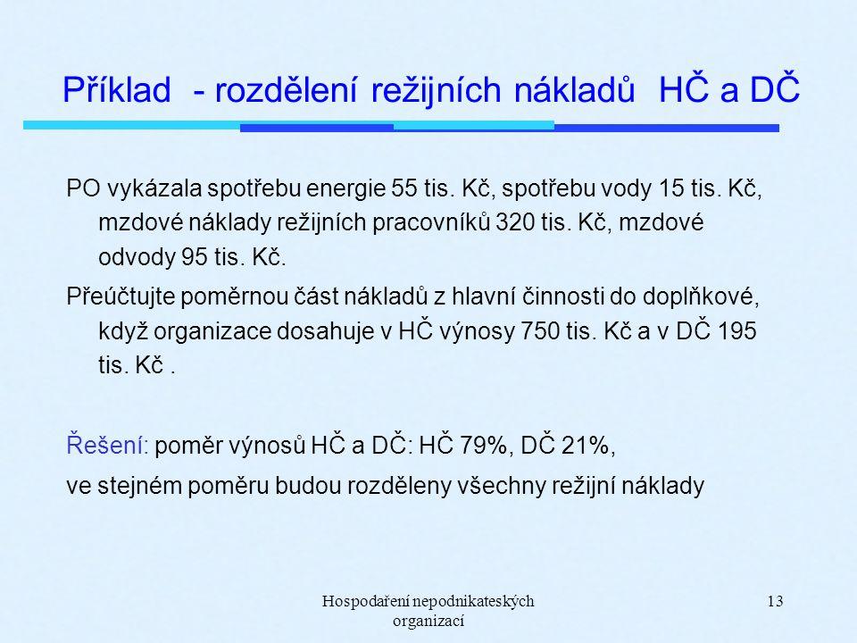 Hospodaření nepodnikateských organizací 13 Příklad - rozdělení režijních nákladů HČ a DČ PO vykázala spotřebu energie 55 tis. Kč, spotřebu vody 15 tis