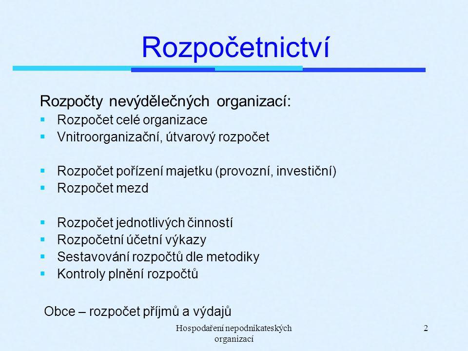 Hospodaření nepodnikateských organizací 13 Příklad - rozdělení režijních nákladů HČ a DČ PO vykázala spotřebu energie 55 tis.