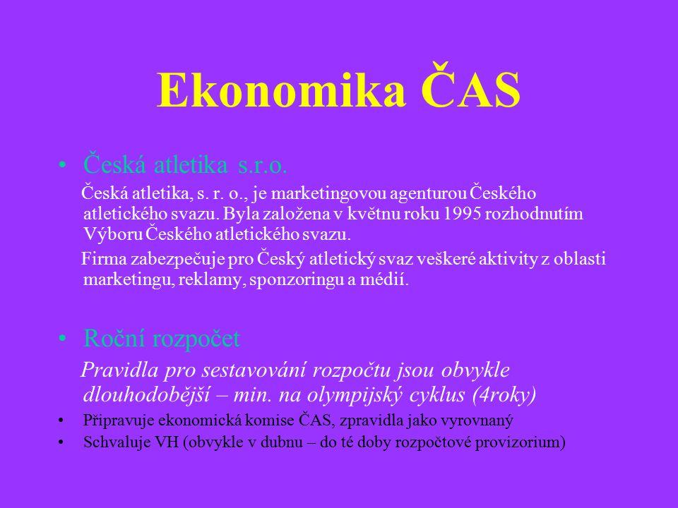 Ekonomika ČAS Česká atletika s.r.o. Česká atletika, s.