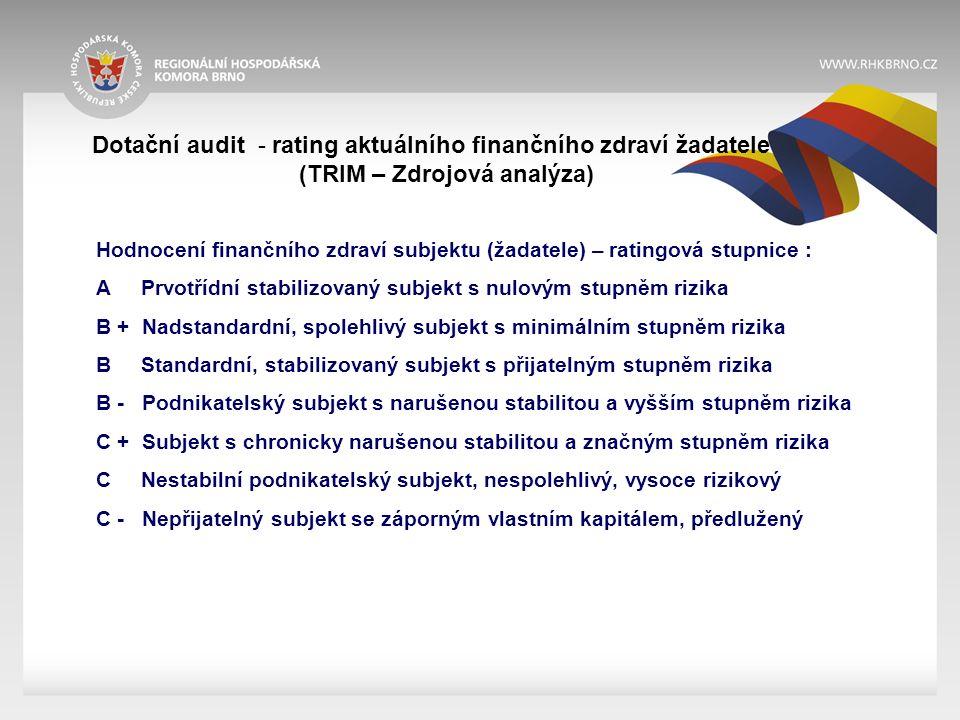 Dotační audit - rating aktuálního finančního zdraví žadatele (TRIM – Zdrojová analýza) Hodnocení finančního zdraví subjektu (žadatele) – ratingová stupnice : A Prvotřídní stabilizovaný subjekt s nulovým stupněm rizika B + Nadstandardní, spolehlivý subjekt s minimálním stupněm rizika B Standardní, stabilizovaný subjekt s přijatelným stupněm rizika B - Podnikatelský subjekt s narušenou stabilitou a vyšším stupněm rizika C + Subjekt s chronicky narušenou stabilitou a značným stupněm rizika C Nestabilní podnikatelský subjekt, nespolehlivý, vysoce rizikový C - Nepřijatelný subjekt se záporným vlastním kapitálem, předlužený
