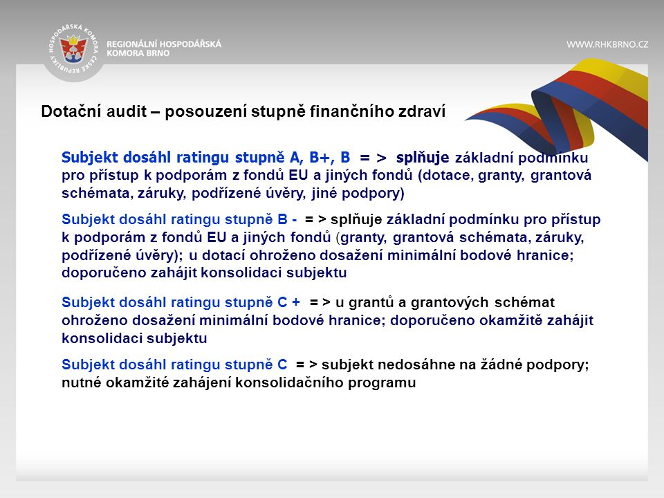 Dotační audit – posouzení stupně finančního zdraví Subjekt dosáhl ratingu stupně A, B+, B = > splňuje základní podmínku pro přístup k podporám z fondů EU a jiných fondů (dotace, granty, grantová schémata, záruky, podřízené úvěry, jiné podpory) Subjekt dosáhl ratingu stupně B - = > splňuje základní podmínku pro přístup k podporám z fondů EU a jiných fondů (granty, grantová schémata, záruky, podřízené úvěry); u dotací ohroženo dosažení minimální bodové hranice; doporučeno zahájit konsolidaci subjektu Subjekt dosáhl ratingu stupně C + = > u grantů a grantových schémat ohroženo dosažení minimální bodové hranice; doporučeno okamžitě zahájit konsolidaci subjektu Subjekt dosáhl ratingu stupně C = > subjekt nedosáhne na žádné podpory; nutné okamžité zahájení konsolidačního programu