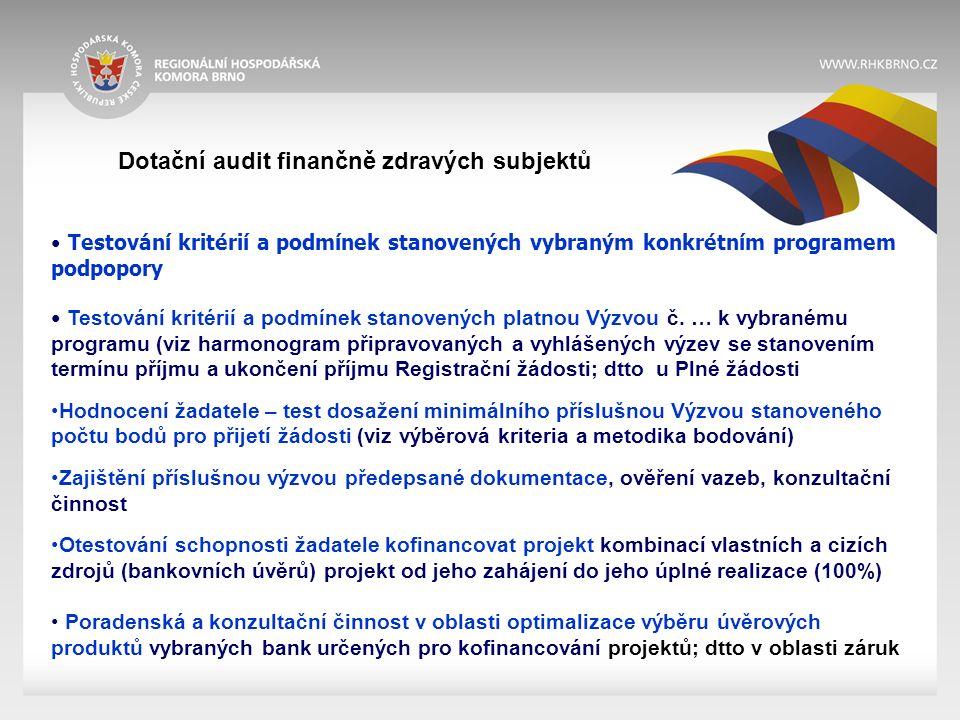 Dotační audit finančně zdravých subjektů Testování kritérií a podmínek stanovených vybraným konkrétním programem podpopory Testování kritérií a podmínek stanovených platnou Výzvou č.