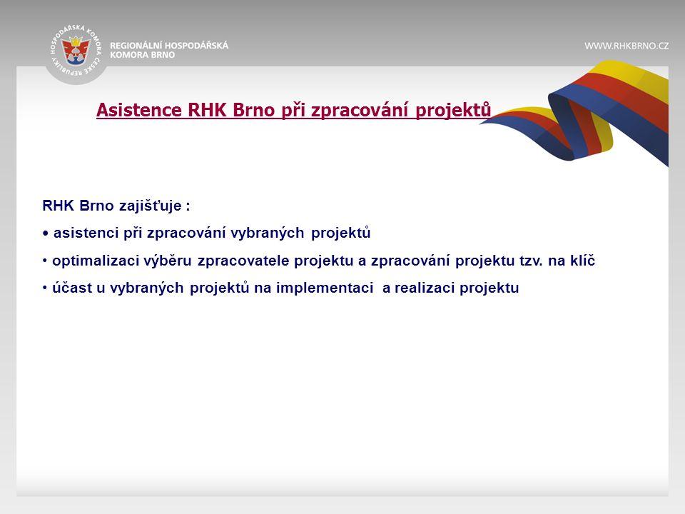 Asistence RHK Brno při zpracování projektů RHK Brno zajišťuje : asistenci při zpracování vybraných projektů optimalizaci výběru zpracovatele projektu a zpracování projektu tzv.