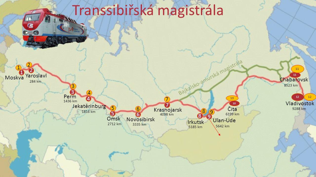 1 Moskva 2 Yaroslavl 3 Perm 4 Jekatěrinburg 5 Omsk 7 Krasnojarsk 8 Irkutsk 9 Ulan-Ude 11 12 Chabarovsk Vladivostok 10 Čita 6 Novosibirsk Bajkalsko-amurská magistrála Transsibiřská magistrála 284 km 1436 km 1816 km 2712 km 3335 km 4098 km 5185 km 5642 km 6199 km 8523 km 9288 km 12 11 10 9 8 7 6 5 4 3 2 1