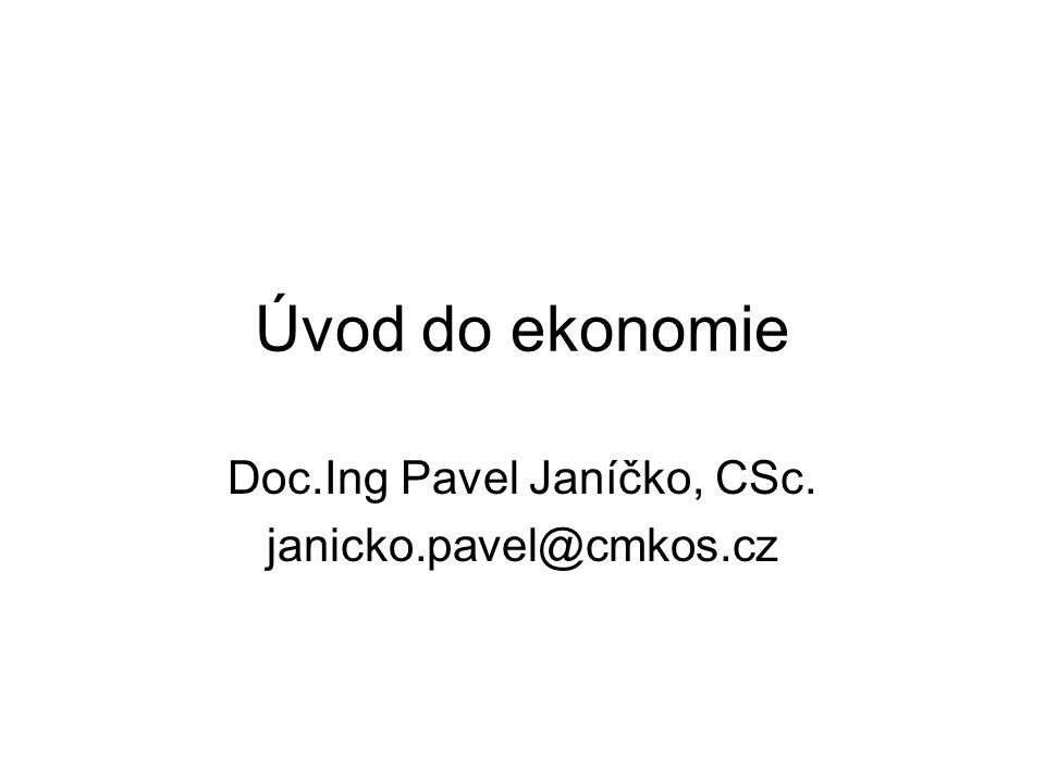 Úvod do ekonomie Doc.Ing Pavel Janíčko, CSc. janicko.pavel@cmkos.cz
