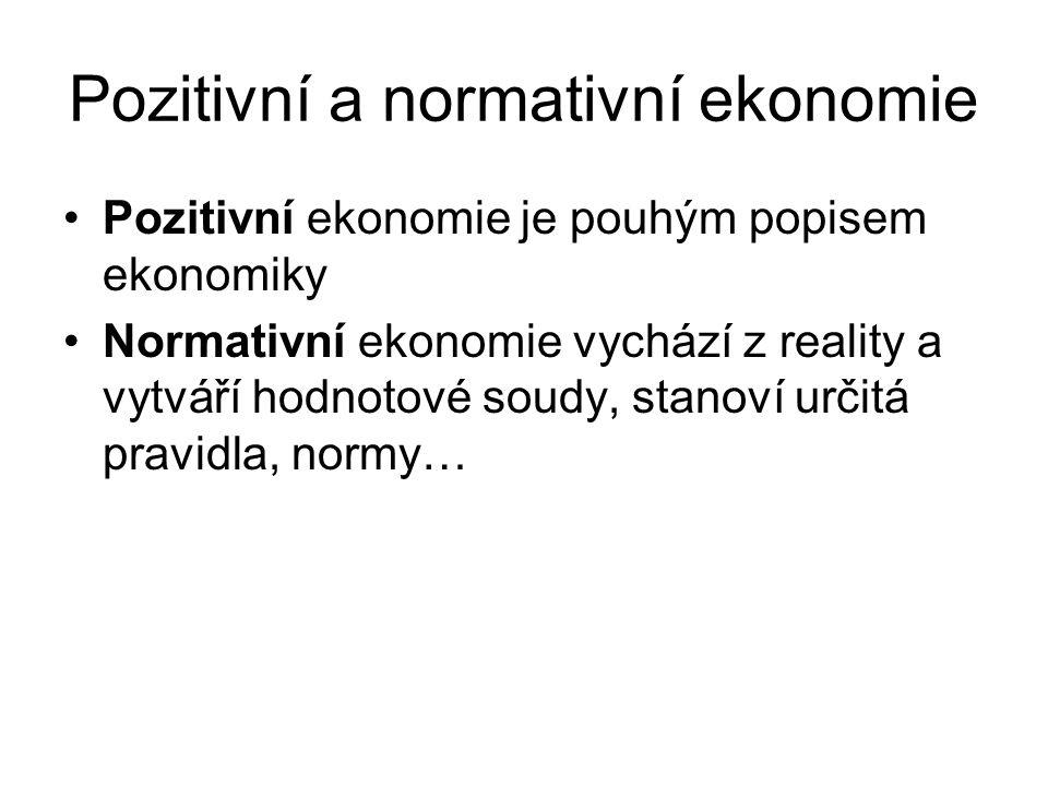 Pozitivní a normativní ekonomie Pozitivní ekonomie je pouhým popisem ekonomiky Normativní ekonomie vychází z reality a vytváří hodnotové soudy, stanov