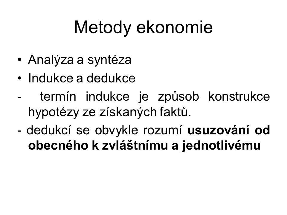 Metody ekonomie Analýza a syntéza Indukce a dedukce - termín indukce je způsob konstrukce hypotézy ze získaných faktů.
